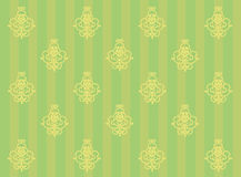 Green background with stripes and monograms Royalty Free Stock Images