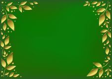 Green background stylized as velvet decorated with golden leaves and dots