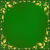 Green background stylized as green velvet decorated with golden leaves and dots in form of circle