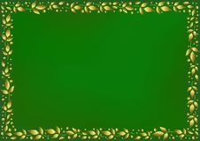 Green background stylized as velvet with decorative frame of golden leaves and dots