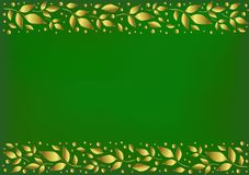 Green background stylized as velvet with decorative stripes align top and below with golden leaves and dots