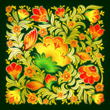 Green background with summer floral ornament Royalty Free Stock Photography