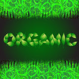 Green background with text made from leaves organic. Illustration with vegetative grasses. Stock Images