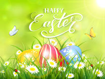 Green background with three Easter eggs in grass Royalty Free Stock Images