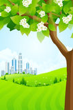 Green Background with Tree and Modern City Stock Image