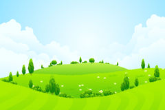 Green Background with Trees Royalty Free Stock Images