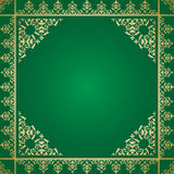 Green vector background with vintage ornament Stock Photos
