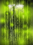 Green background with world map matrix style Royalty Free Stock Photos