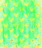 Green background with yellow hearts and watercolor spots Royalty Free Stock Image