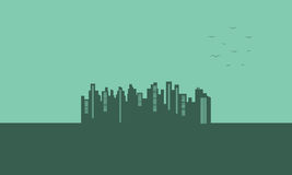 On green backgrounds urban silhouettes Royalty Free Stock Photos