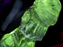 Green backlit ice sculpture Royalty Free Stock Images