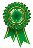 Green badge with clover to St. Patrick's Day Stock Photography