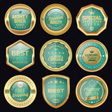 Green Badge Collection. Set of green and golden badges Stock Image