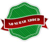 Green badge with NO SUGAR ADDED text on red ribbon. Illustration Stock Image