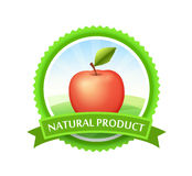 Green Badge with Red Apple. Green Badge with Field and Tasty Red Apple. Round Emblem  on white background Stock Image
