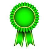 Green badge with ribbon vector illustration