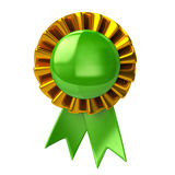 Green badge with ribbons Royalty Free Stock Photo