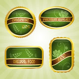 Green badges with ribbon Royalty Free Stock Image