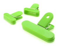 Green bag clips Royalty Free Stock Photography