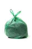 Green bag of rubbish. On white background Royalty Free Stock Photo