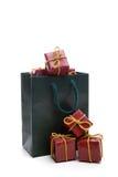 Green Bag With Small Christmas Present Box Royalty Free Stock Image