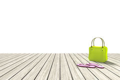 Green bag on a wooden floor with white background Stock Photography