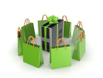 Green bags around PC. Stock Photo