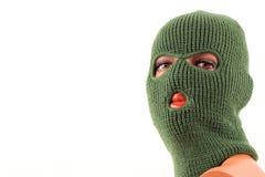 Green balaclava mask on manikin's head Royalty Free Stock Images