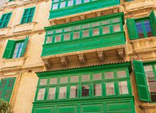 Green Balconies in Valletta in Malta Royalty Free Stock Image
