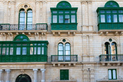 Green balcony in the capital city of Valetta Stock Images