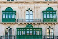 Green balcony in the capital city of Valletta Stock Photo