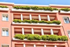 Green balcony eco style architecture facade in Venice scenic old streets. Italian Lagoon Stock Image