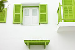 Green Balcony and Green window Stock Photography