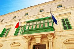 Green balcony of Palazzo Parisio in Valletta. Malta Stock Image