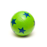 Green Ball. Green rubber ball with stars on isolated white background Royalty Free Stock Images