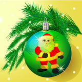 Green ball on the Christmas spruce twig on a yellow background. Handmade,  illustration Royalty Free Stock Images