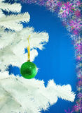 Green ball on the Christmas tree Royalty Free Stock Photography
