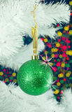 Green ball on the Christmas tree Royalty Free Stock Photo