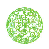 Green ball made of social network icons Stock Images