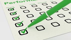 Green ball pen crossing off items on performance checklist. Green ball pen crossing off very good on a performance evaluation checklist on white paper 3D Stock Photography