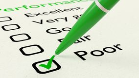 Green ball pen crossing off poor on performance checklist. Green ball pen crossing off poor on a performance evaluation checklist on white paper 3D illustration Stock Images