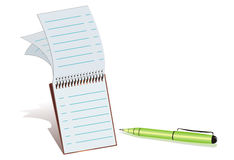 Green Ball-point pen and notepad. Vector illustration from a notepad with a green ball-point pen in white background Stock Photos