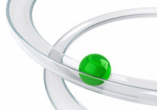 Green ball rolling down on the helix tray. Abstract illustration with green ball rolling down on the helix tray made of transparent glass isolated on white Stock Image