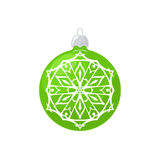 Green Ball with Snowflake  on White Royalty Free Stock Image