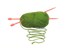 Green ball of wool Royalty Free Stock Image
