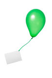 Green balloon with card royalty free stock photography