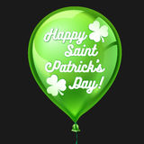 Green balloon with clover and Happy St. Patricks Day greeting. Vector illustration Stock Image