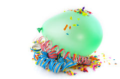 Green balloon and confetti Royalty Free Stock Images