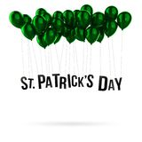 Green Balloon 3d Illustration Isolated St Patrick. St Patrick`s Day letters hang on green balloon 3d illustration isolated on white background. Balloons Royalty Free Stock Images