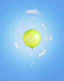 Green balloon flying Stock Photo
